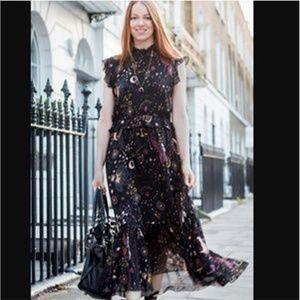 Zara moon galaxy STAR  zodiac black midi dress M